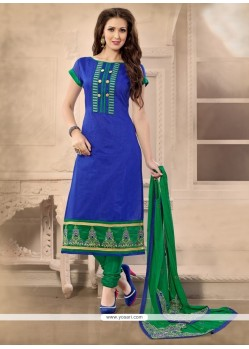 Engrossing Chanderi Blue Churidar Designer Suit