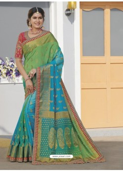 Turquoise Latest Designer Traditional Wear Raw Silk Sari