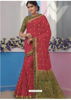 Dark Peach Latest Designer Traditional Wear Raw Silk Sari