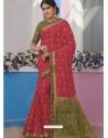 Dark Peach Latest Designer Traditional Wear Raw Silk Sari
