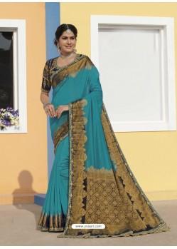 Blue Latest Designer Traditional Wear Raw Silk Sari