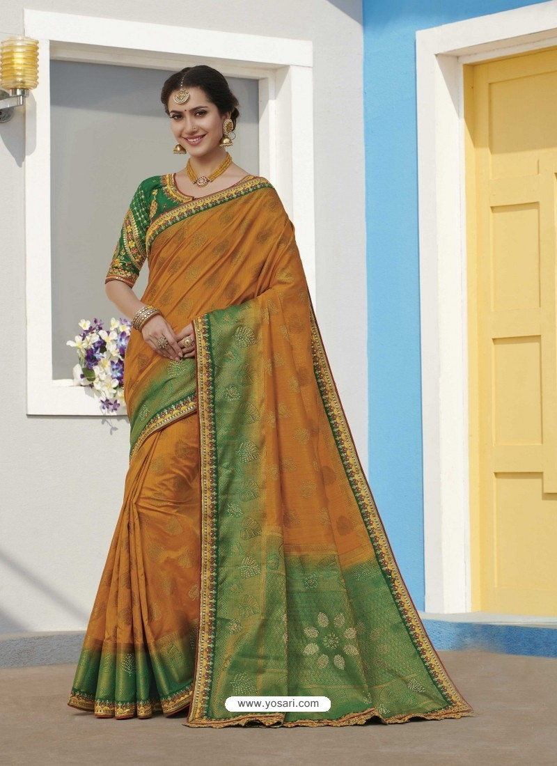 Orange Latest Designer Traditional Wear Raw Silk Sari
