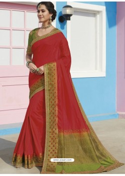Red Latest Designer Traditional Wear Raw Silk Sari