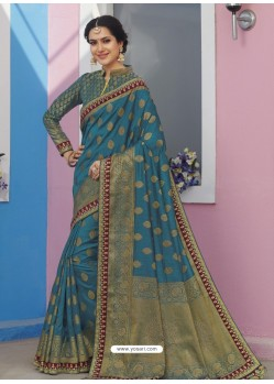 Blue Latest Designer Traditional Wear Raw Silk Sari