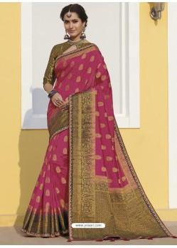 Hot Pink Latest Designer Traditional Wear Raw Silk Sari
