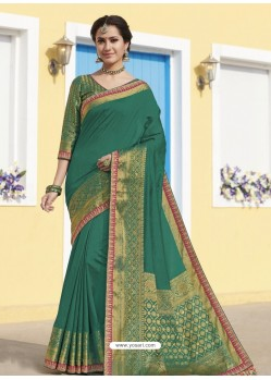 Aqua Mint Latest Designer Traditional Wear Raw Silk Sari