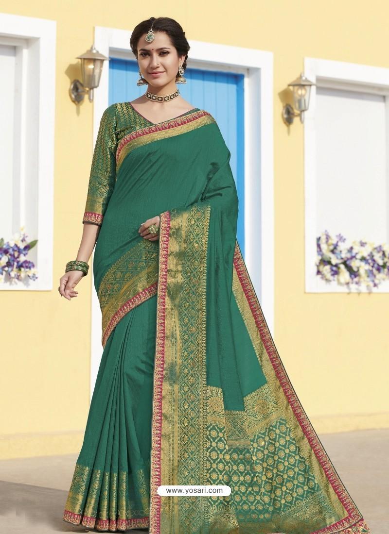 Aqua Mint Latest Designer Traditional Wear Raw Silk Sari
