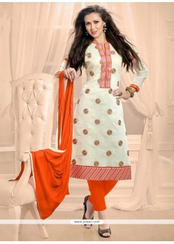 Lively Off White Churidar Designer Suit
