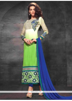 Captivating Off White And Green Georgette Churidar Suit