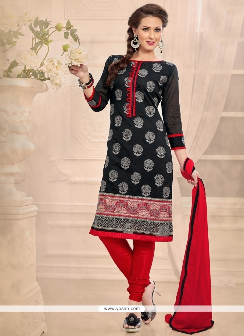 Sophisticated Embroidered Work Chanderi Black Churidar Designer Suit