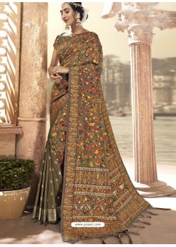 Beige Latest Designer Traditional Wear Silk Sari