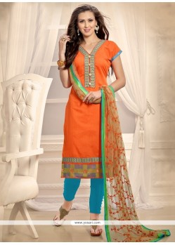 Sensible Embroidered Work Orange Churidar Designer Suit
