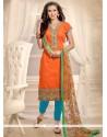 Sensible Embroidered Work Orange Churidar Designer Suit