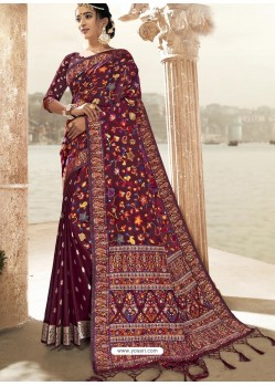 Maroon Latest Designer Traditional Wear Silk Sari