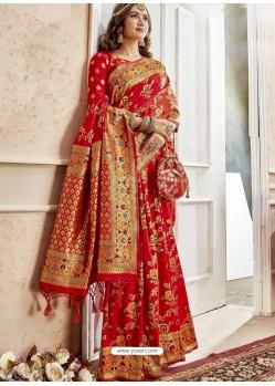 Red Latest Designer Traditional Wear Banarasi Silk Sari