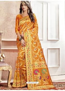 Orange Latest Designer Traditional Wear Banarasi Silk Sari