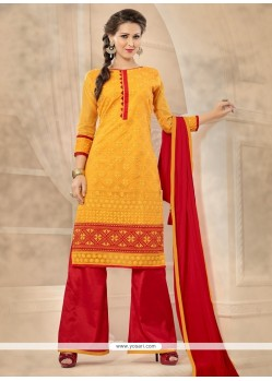Surpassing Red And Yellow Chanderi Designer Palazzo Salwar Kameez