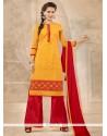 Surpassing Red And Yellow Chanderi Designer Palazzo Salwar Kameez