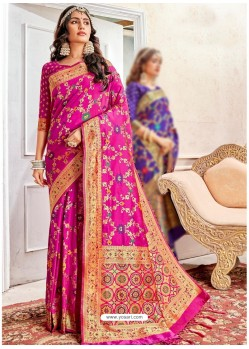 Magenta Latest Designer Traditional Wear Banarasi Silk Sari