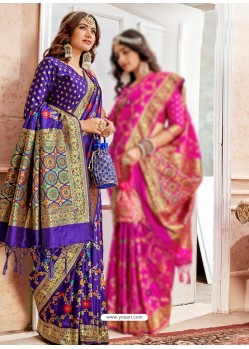 Violet Latest Designer Traditional Wear Banarasi Silk Sari