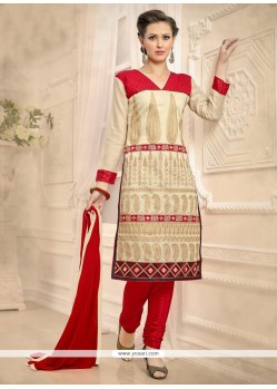 Competent Beige And Red Embroidered Work Chanderi Churidar Designer Suit