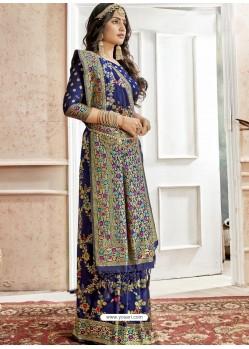 Navy Blue Latest Designer Traditional Wear Banarasi Silk Sari