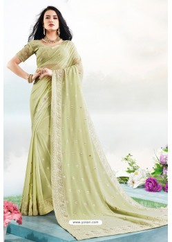 Green Latest Designer Party Wear Bember Georgette Sari