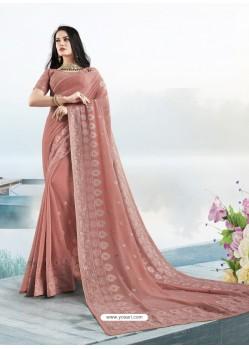 Old Rose Latest Designer Party Wear Bember Georgette Sari
