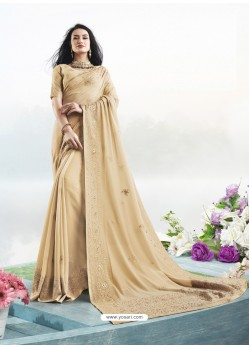 Cream Latest Designer Party Wear Bember Georgette Sari