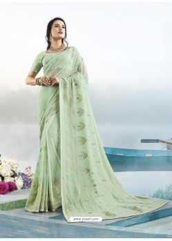 Sea Green Latest Designer Party Wear Bember Georgette Sari