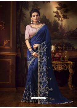 Navy Blue Latest Designer Party Wear Vichitra Silk Sari