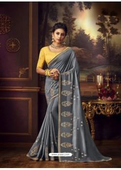 Grey Latest Designer Party Wear Vichitra Silk Sari
