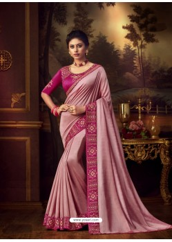 Pink Latest Designer Party Wear Vichitra Silk Sari