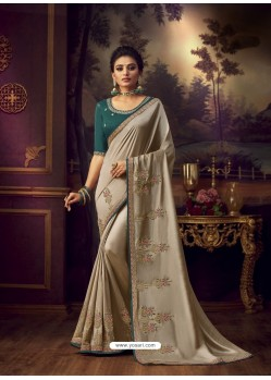 Light Beige Latest Designer Party Wear Vichitra Silk Sari