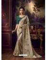 Light Beige Latest Designer Party Wear Vichitra Silk Sari