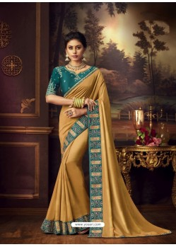 Mustard Latest Designer Party Wear Vichitra Silk Sari