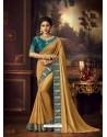 Mustard Latest Designer Party Wear Vichitra Silk Sari