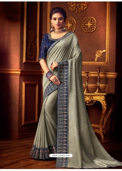 Silver Latest Designer Party Wear Vichitra Silk Sari