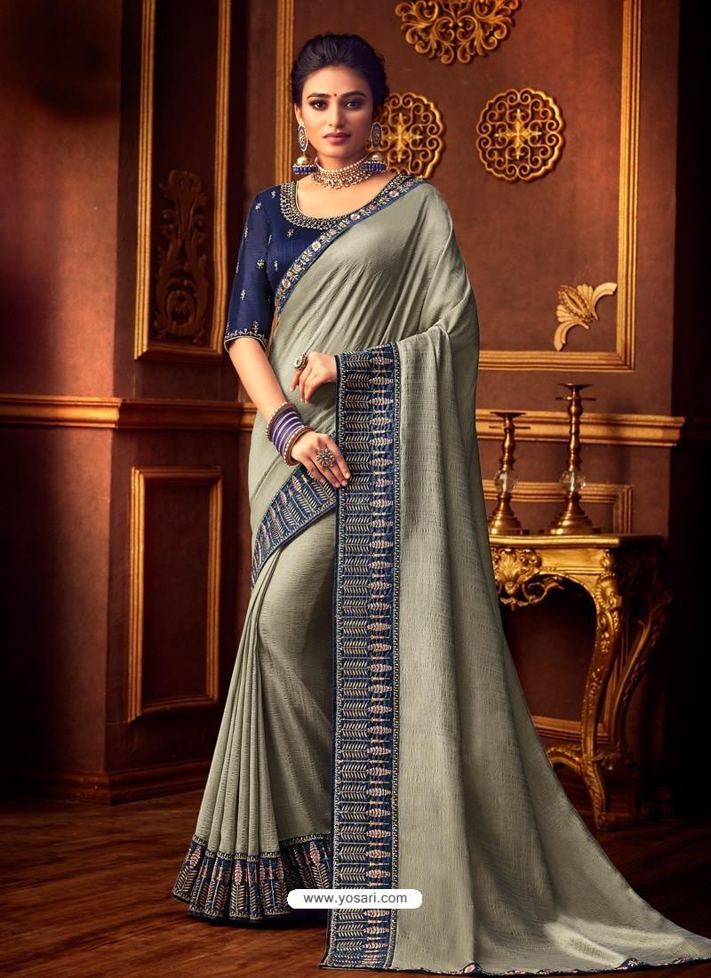 Silver Latest Designer Party Wear Vichitra Silk Sari