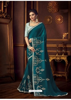 Teal Blue Latest Designer Party Wear Vichitra Silk Sari
