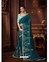 Teal Blue Latest Designer Party Wear Vichitra Silk Sari