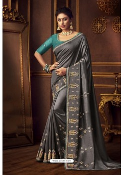 Dull Grey Latest Designer Party Wear Vichitra Silk Sari