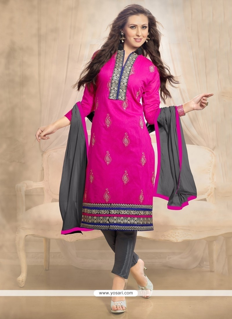 Swanky Lace Work Pink Churidar Designer Suit