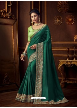 Dark Green Latest Designer Party Wear Vichitra Silk Sari