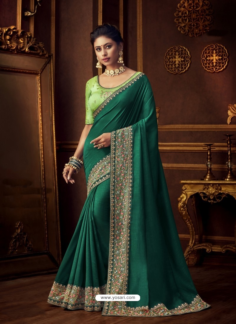 Dark Green Latest Designer Party Wear Vichitra Silk Sari