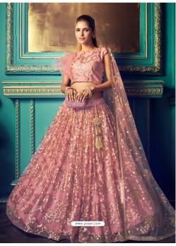 Peach Heavy Embroidered Designer Net Wedding Lehenga Choli