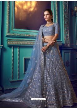 Pigeon Heavy Embroidered Designer Net Wedding Lehenga Choli