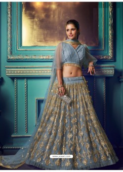 Aqua Grey Heavy Embroidered Designer Net Wedding Lehenga Choli