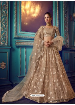 Beige Heavy Embroidered Designer Net Wedding Lehenga Choli