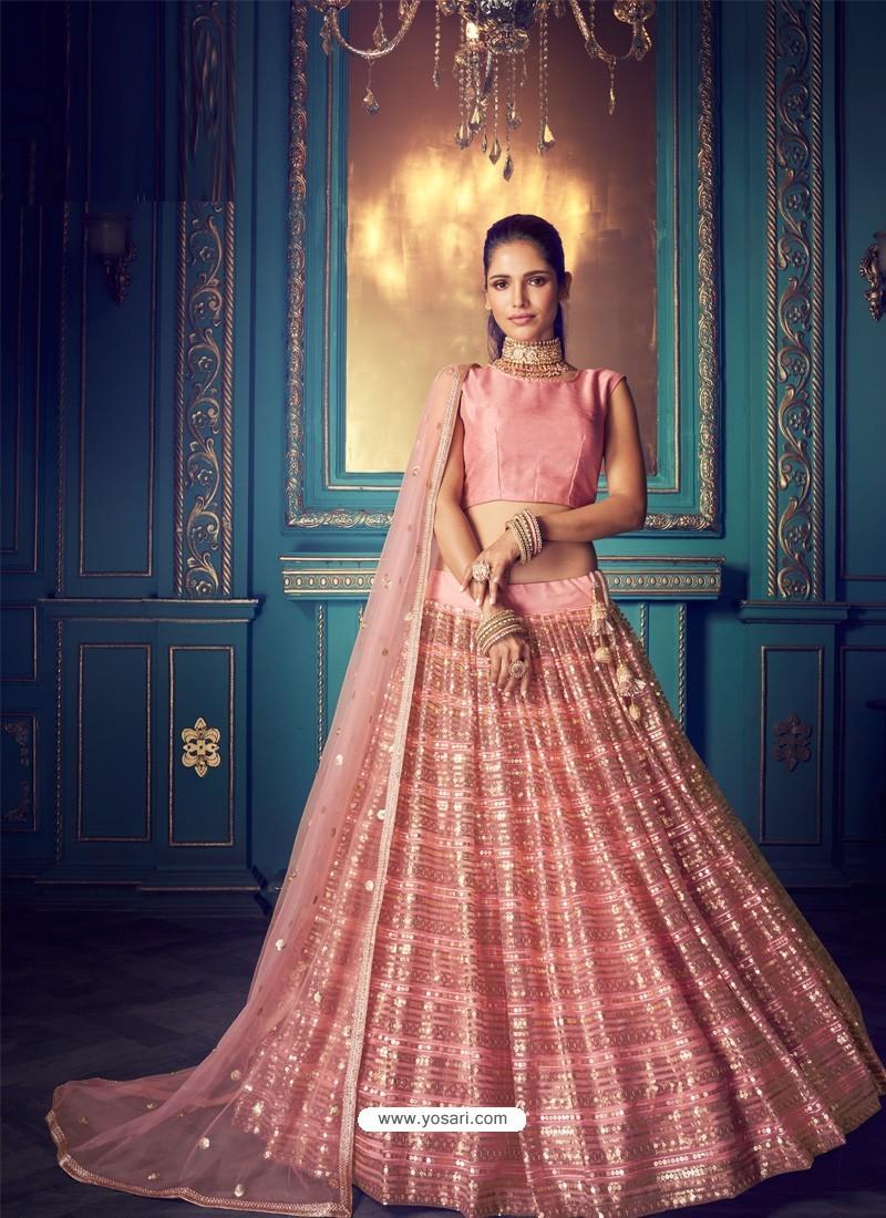 Pink Heavy Embroidered Designer Net Wedding Lehenga Choli